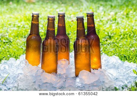 beer in a pile of ice outside