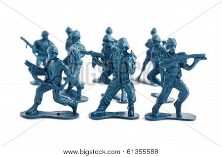 Blue army toy soldiers