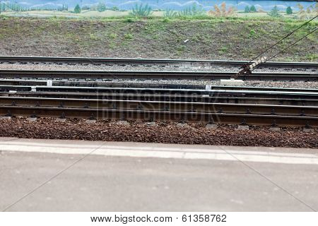 Railroad tracks on background