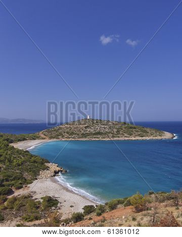 tranquil beach and peninsula, Chios island