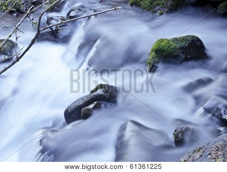 Soft Waterfall flowing over mossy rocks