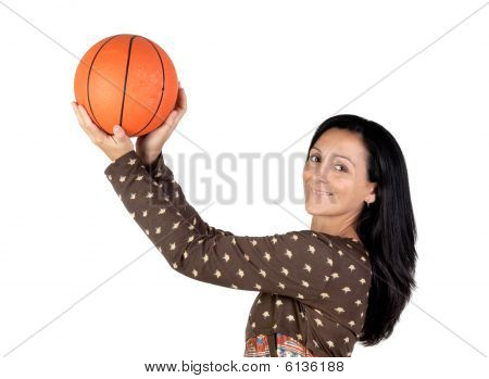 Attractive Girl Shooting Basketball