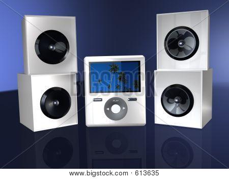 Vídeo o reproductor de MP3 con altavoz
