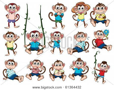 Illustration of a group of monkeys on a white background