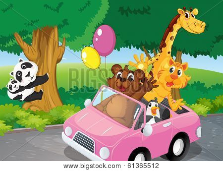 Illustration of the bears climbing and a pink car full of animals