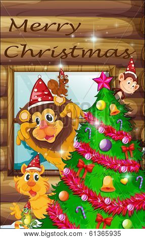 Illustration of a decorated christmas tree surrounded with animals