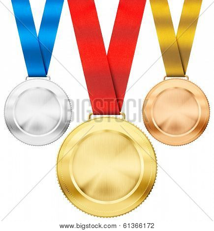 gold, silver, bronze realistic sport medals with ribbon set isolated on white