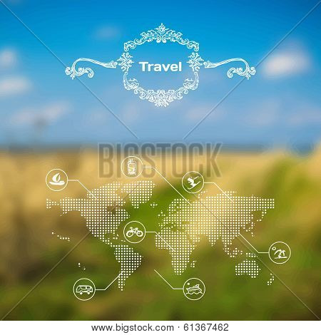 Vector Mobile And Web Interface Travel Theme