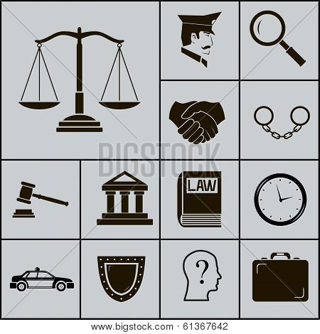 Law Justice Police Icons and Symbols Silhouette on Gray Background Vector Illustration