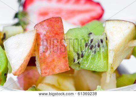 Diet Shashlik On White Plate