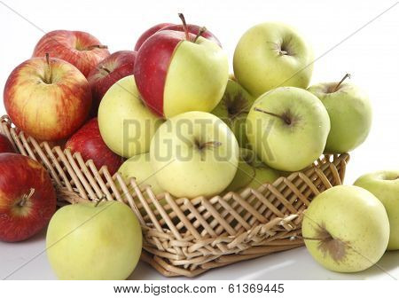 few red and green apples