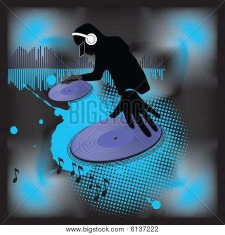 Cartel de la música.DJ.