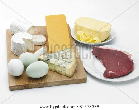 Cheese, Eggs, Butter And Beef