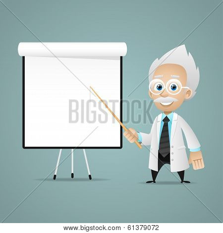 Scientist points on flipchart
