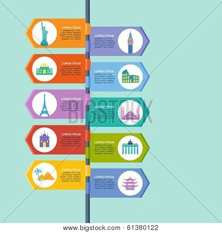 Infographics elements: Travel and Famous Landmarks. Travel concept with stylish colorful icons and guidepost