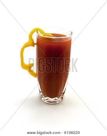 One Glass Of Tomato Juice With A Segment Of Yellow Pepper