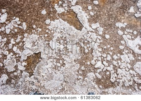 Salt Crystals In Evaporation Pond Close Up