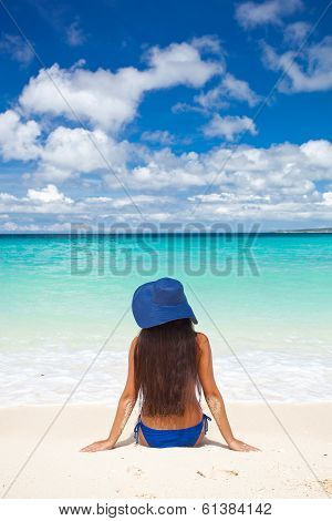 Woman On Beach In Summer Hat