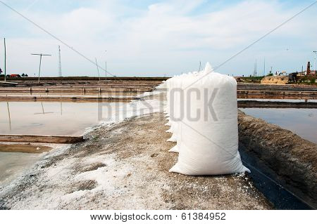 Salt In Bags In Evaporation Ponds