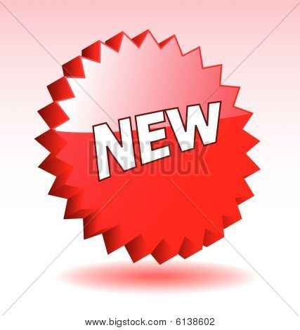 3D vector star elements with word new for advertisement design.