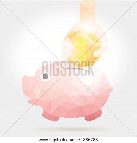 Vector Illustration Of Cartoon Piggy Bank In Polygon Design