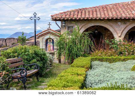 Garden In Meteora Monastery In Greece