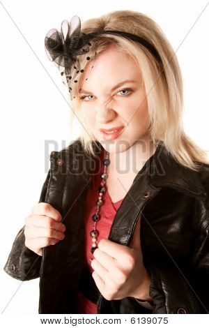 Pretty Woman In Leather Jacket Making A Face