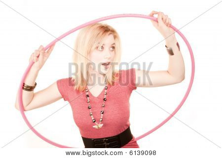 Pretty Blonde Woman With Plastic Hoop