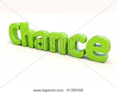 Word chance icon on a white background. 3D illustration.