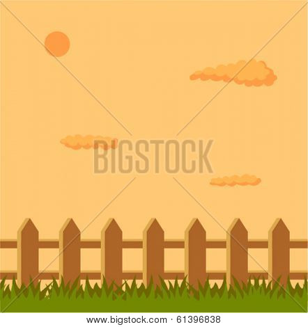 fence in field in the afternoon
