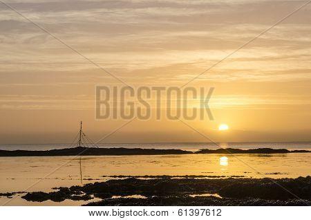 golden sunrise at hannafore point , cornwall