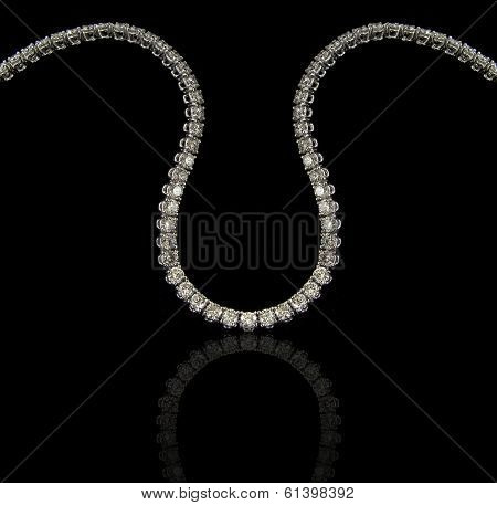 Diamonds necklace on black background