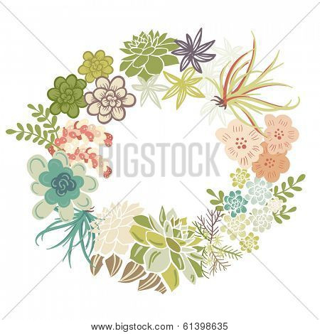 Floral Frame. Cute succulents arranged un a shape of the wreath perfect for wedding invitations and birthday cards