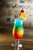 Tropical cocktail in glass