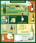 Wine and cheese pairings. Vector illustration.