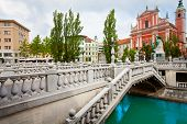 stock photo of yugoslavia  - Triple bridge in Ljubljana capital of Slovenia - JPG