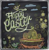 stock photo of easter decoration  - Easter hand drawn graphic on a chalkboard - JPG