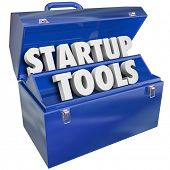 stock photo of enterprise  - Startup Tools Words Toolbox Launch New Business Steps Advice - JPG