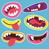 stock photo of monsters  - Cute Monsters Mouths - JPG