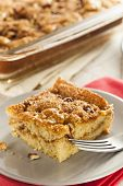 stock photo of fancy cakes  - Homemade Coffee Cake with Cinnamon and Nuts - JPG