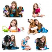 collection of photos of a little girl with pets