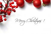 image of merry christmas text  - traditional christmas greeting card with decorative red ornaments - JPG