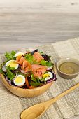 foto of radish  - Smoked salmon salad with red onion - JPG
