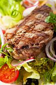stock photo of rib eye steak  - Rib Eye Steak with  Vegetables - JPG