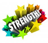 Strength word surrounding by stars to illustrate competitive advantage or special ability that is be