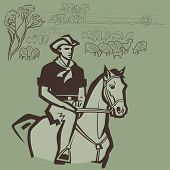 foto of prairie  - Cowboy herding sheep on the prairie vector illustration - JPG