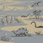 picture of carnivorous plants  - Prehistoric landscape with carnivorous dinosaurs and ancient plants vector illustration - JPG