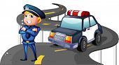 Illustration of a police and his patrol car in the middle of the road on a white background