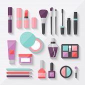 stock photo of nail-design  - Set of colored cosmetics icons in flat style - JPG