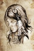 stock photo of indian chief  - Tattoo sketch - JPG